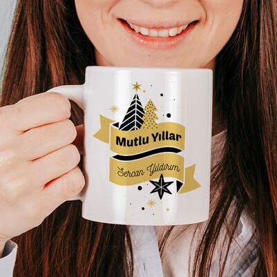 - Yılbaşı Tasarımlı İsme Özel Kahve Bardağı