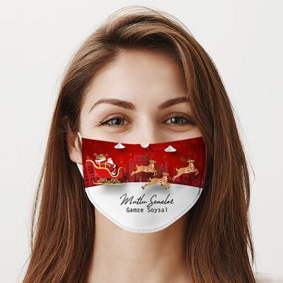 Yılbaşı Tasarımlı Yıkanabilir Maske - Thumbnail