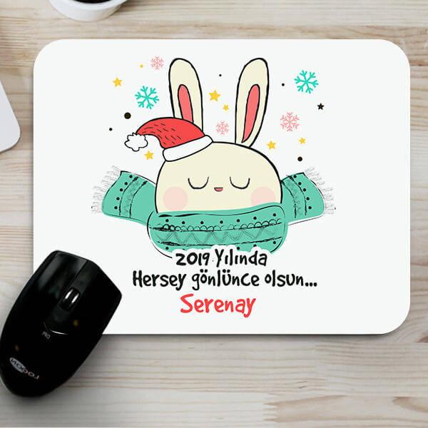 Yılbaşı Tavşanı Sevimli MousePad