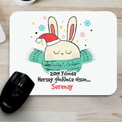 - Yılbaşı Tavşanı Sevimli MousePad