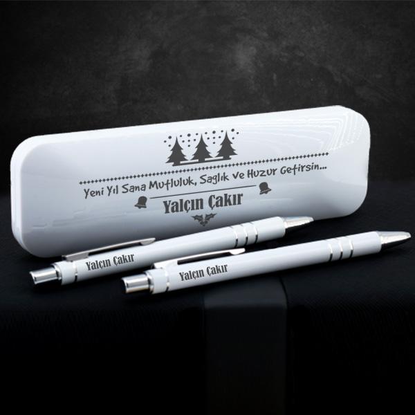 Yılbaşı Temalı Beyaz Kutuda Kalem Seti