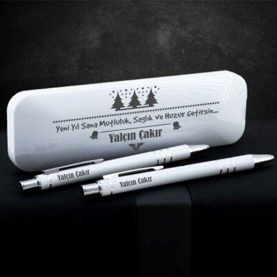 - Yılbaşı Temalı Beyaz Kutuda Kalem Seti