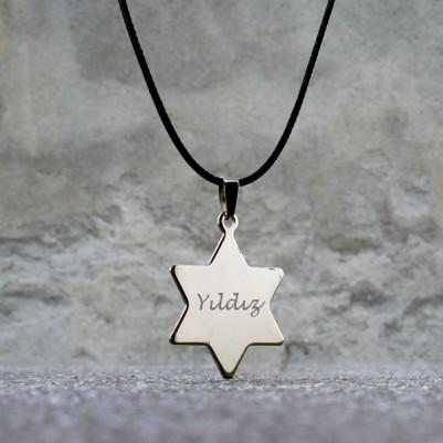 - Yıldız Tasarımlı İsme Özel Metal Kolye