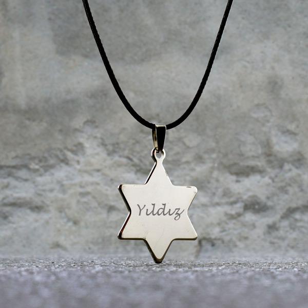 Yıldız Tasarımlı İsme Özel Metal Kolye