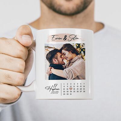 Yıldönümü Hediyesi Fotoğraflı Romantik Bardak - Thumbnail