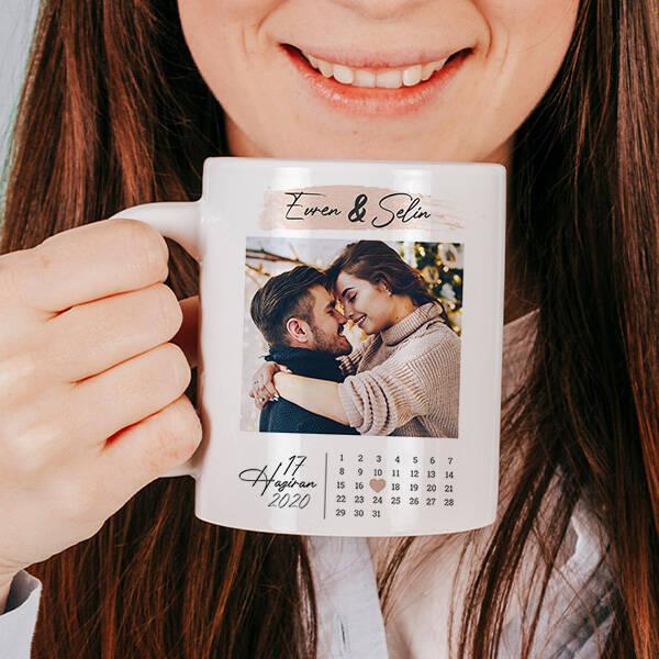 Yıldönümü Hediyesi Fotoğraflı Romantik Bardak