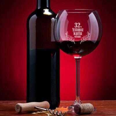 - Yıldönümü Mesajlı Şarap Kadehi