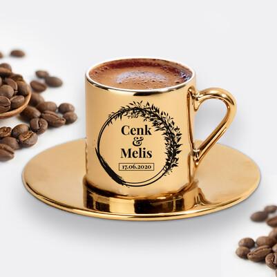 Yıldönümü Tarihli ve İsimli Gold Kahve Fincanı - Thumbnail