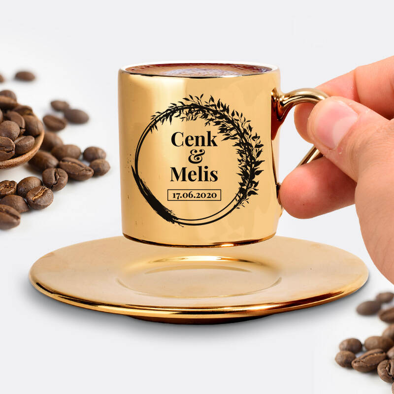 Yıldönümü Tarihli ve İsimli Gold Kahve Fincanı
