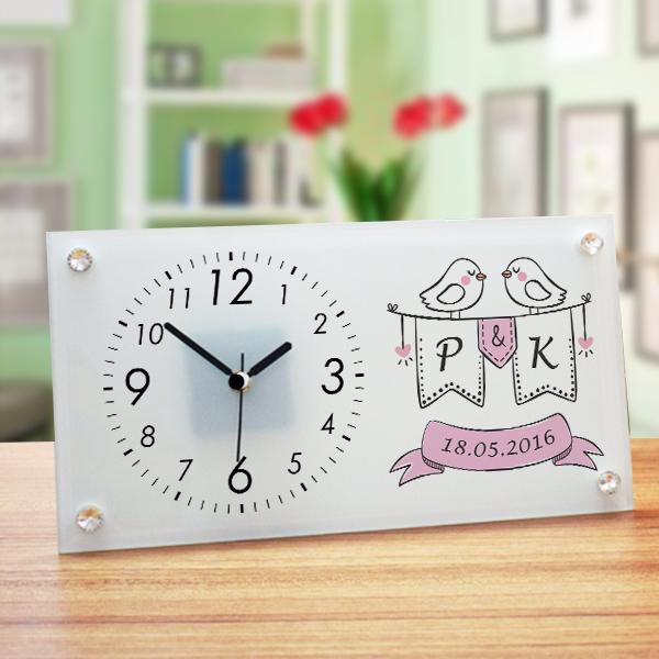 Yıldönümü Temalı Cam Masa Saati