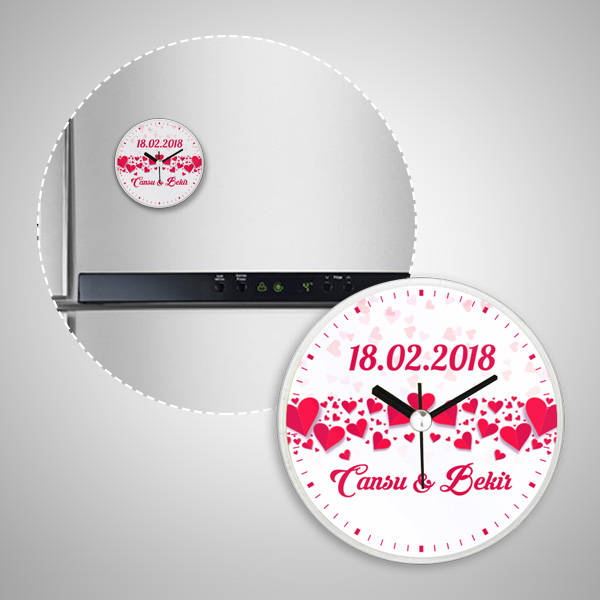 Yıldönümüne Özel Saatli Buzdolabı Magneti