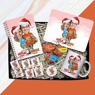 Yılın Çifti Karikatürlü Yılbaşı Hediye Kutusu - Thumbnail
