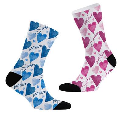 - Yoğun Kalpler İsme Özel 2'li Çorap Seti