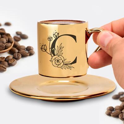 Zarif Baş Harfli Gold Kahve Fincanı - Thumbnail