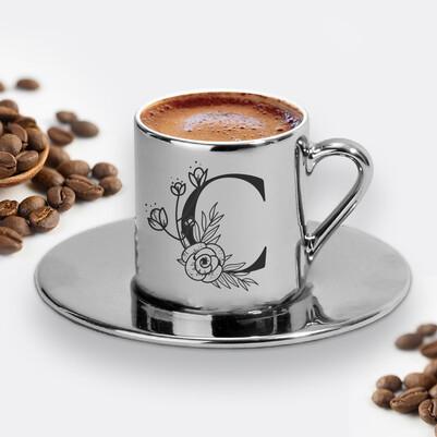 - Zarif Baş Harfli Silver Kahve Fincanı