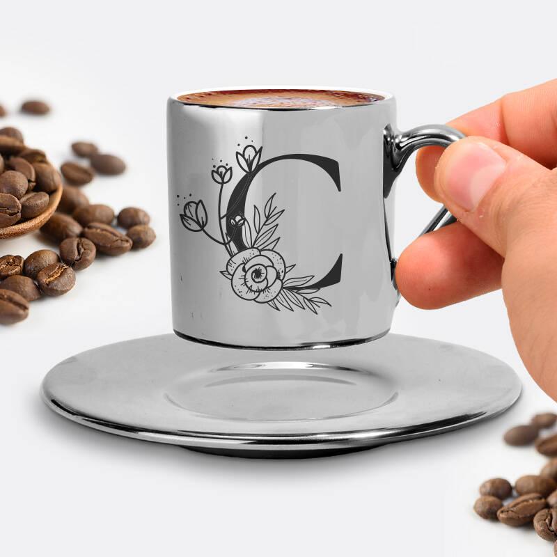 Zarif Baş Harfli Silver Kahve Fincanı