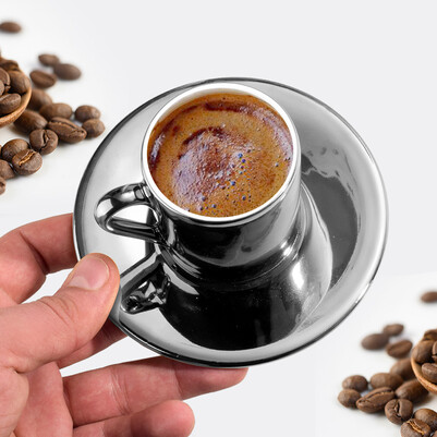 Zarif Baş Harfli Silver Kahve Fincanı - Thumbnail